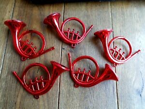 5 RED PLASTIC MUSICAL INSTRUMENTS~FRENCH HORNS~CHRISTMAS DECORATIONS~ c1970s