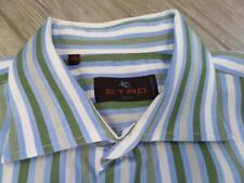 ETRO green striped shirt (43) 17 36/37 fits XL casual