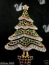SIGNED SWAROVSKI PAVE' CRYSTAL  2000 CHRISTMAS TREE PIN  PIN~ BROOCH RETIRED NEW