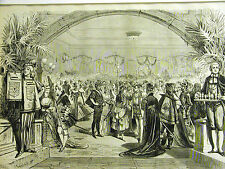 Delmonico's Restaurant FANCY COSTUME BALL DANCE Easter 1875 Antique Print Matted