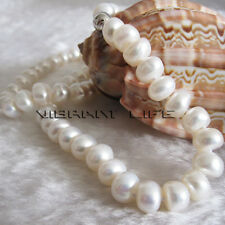 """18"""" 8-10mm White Roundel Freshwater Pearl Strand Necklace Jewelry UK"""