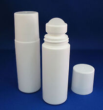 5 Wholesale WHITE 3oz Plastic Roll On Bottles Caps Balls Homeopathic Ayurvedic