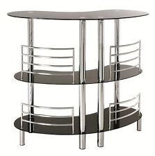 Black Glass & Chrome 3 Tier Home Pub Drinks Bar Table 95222