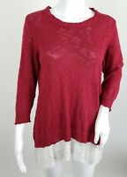 A.n.a Womens Sweater Size Medium Red Lace Hem Scoop Neck 3/4 Sleeve Knit
