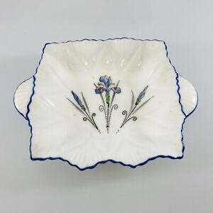 Rare Shelley Art Deco Queen Anne Blue Iris from tea set dish for butter or jam
