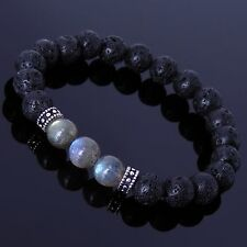 Men/Women Gemstone Bracelet Lava Rock Labradorite S925 Sterling Silver Spacer