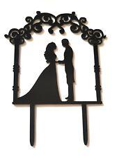 Wedding Cake Topper-Negro Acrílico Silueta-novia novio-el Sr. & sra. - Vintage Pergola