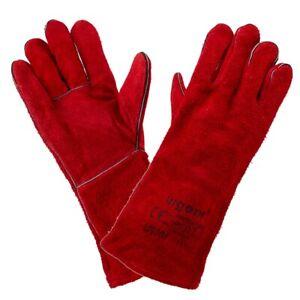 Welders Gaunlet Gloves Red | Leather Woodburner Stove Log Fire Oven Gauntlets