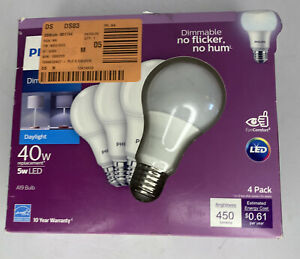 Philips 549763 A-Line A19 LED Bulb, Daylight, 5 Watts, 450 Lumens pack of 4