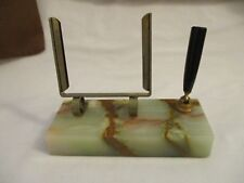 """Vintage heavy marble base desk pen and picture holder 2"""" x 5"""""""