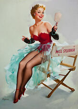 Large Framed Print - Gil Elvgren Classic Vintage Pin Up on a Movie Set (Picture)