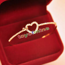 Women Cuff Gold Plated Charm Love Heart Crystal Bangle Fashion Bracelet Jewelry