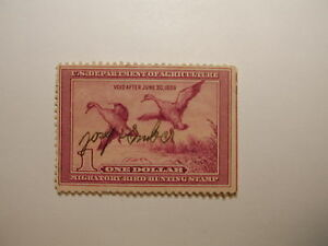 US Department of Interior Scott #RW5 Pintail Drake & Hen Ducks Stamp 1938