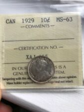 1929 Canada 10 Cent ICCS MS63    Beauty