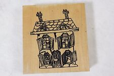 Amy Comstock Combs Halloween Haunted House Craft Wood Mounted Rubber Stamp!