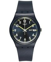Swatch 240198 Womens Originals GN718 Blue Silicone Straps Quartz Watch 34 mm