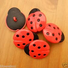3 x large ladybird buttons 30mm x 35mm shank on back of button