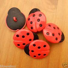 3 x Bottoni coccinella grandi dimensioni 30mm x 35mm gambo sul retro del pulsante