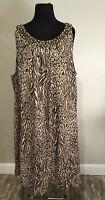 New Maggie Barnes Plus Sz 3X Long Sleeveless Beaded Animal Print Casual Dress