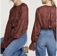 Free People Olivia Lace Top Blouse in Wine Large