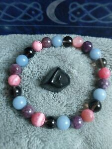 grief and loss crystal healing bead bracelet with Apache tear stone Angelite
