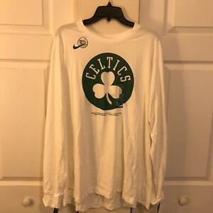 Nike Boston Celtics NBA Authentic Long Sleeve Shirt White Men 2XL CD2806-100 NWT