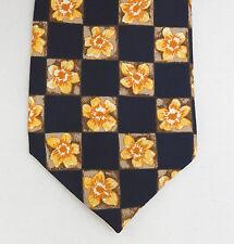 Buttercup floreale cravatta M&S VINTAGE lavabile in lavatrice Navy Blu Giallo Oro Fiori