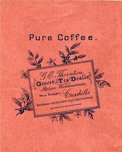 ORIGINAL VINTAGE WRAPPER PURE COFFEE THORNTONS GROCER CROSSHILLS 1930s