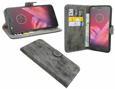 Cellulare-Custodia PU Pelle Flip-Cover F. Lenovo MOTO z2 Force Book-Style in antracite