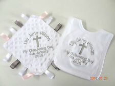 PERSONALISED BABY BIB & TAGGY BLANKET- CHRISTENING -  EMBROIDERED NEXT DAY