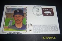 1987 New York Yankees DON MATTINGLY Breaks BABE RUTH Record Silk 1st Day Cover