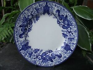 "Vtg Art Deco Boch La Louviere Belgium Blue & White Dragon Pattern 8"" Salad Plate"