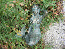 Mermaid statue Green patina Oxidized brass bronze heavy metal figurine sculpture