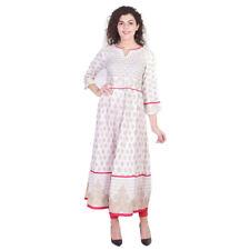 Indian Anarkali Designer Embroidered White Golden Printed Bollywood Women Kurti