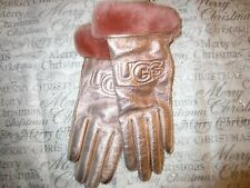 Womens UGG Classic Leather Logo Gloves Rose Gold Size Small S Wool 17440