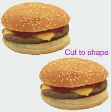 2 cheeseburger stickers for ice cream van  catering trailer takeaway cafe chip
