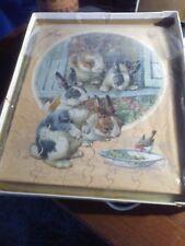Vintage Victory Rabbit Scene Wooden Jig-Saw Puzzle