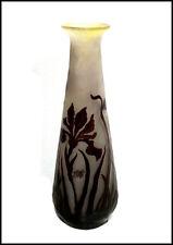 Emile Galle Original Large Français Couleur Camée Verre Vase Signé Ancien Floral
