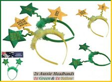 2x AUSSIE Yellow Green HEADBANDS Oi Oi Oi Australia Commonwealth Olympic Costume
