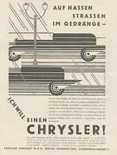 J1485 Automobile CHRYSLER - Pubblicità grande formato - 1929 Old advertising