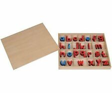 Montessori Small Wooden Movable Alphabet with Box (Red Blue, 5mm thick)