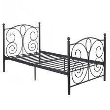 "83""x43""x42&#034 ; Black Steel Twin Size Bed Frame Platform Foundation Furniture New"