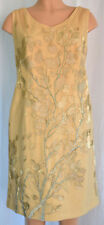 TONY WARD Haute Couture Cheer Gold Embroidered Sleeveless Silk Dress Size 16