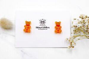 Gummy Bear / Novelty Candy Lollies Earrings Studs - Orange