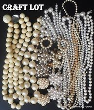 VINTAGE JEWELRY faux PEARL necklace, earring CRAFT LOT Bridal designs HEAD BANDs