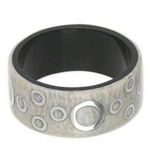 """White Bangle Bracelet with Aluminum & Resin, White and Silver, 1 1/8"""" 31mm Wide"""