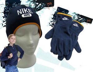 Nike 1972 Vlies Hut Und Handschuh Set Marineblau Kinder Original Klein Alter 4-5