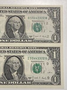 DOUBLE LADDER PAIR NUMBER #55443322  - 1988A $1 GEM NY/MINN FRNs UNC!SUPER RARE!