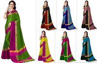 Designer Cotton Silk Saree Party Wear Indian Kanchipuram Bollywood Fancy MB