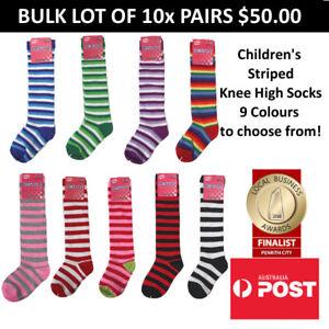 Children's Colourful Striped Knee High Socks Kids Socks BULK LOT OF 10x PAIRS
